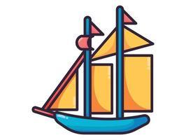 sailing boat illustration full color