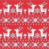 Navidad invierno de patrones sin fisuras con renos blancos, flores, copos de nieve sobre fondo rojo. vector