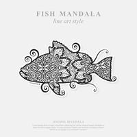 Fish Mandala. Vintage decorative elements. Oriental pattern, vector illustration.