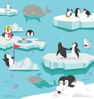 North pole winter arctic animals landscape cartoon vector