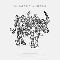 buffalo Mandala. Vintage decorative elements. Oriental pattern, vector illustration.