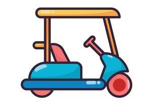 Golf cart illustration colorfull vector