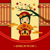 Gong Xi Fa Cai Little Girl with Chinese Costume vector