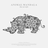 Rhino Mandala. Vintage decorative elements. Oriental pattern, vector illustration.