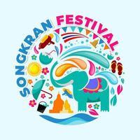 festival de songkran de salpicaduras de agua vector