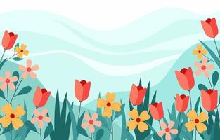 Beautiful Flowers with Blue Background vector