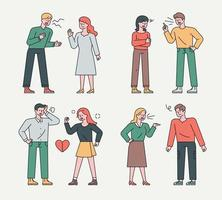 Collection of quarrelsome couples. Couples are yelling at each other and getting angry.flat design style minimal vector illustration.