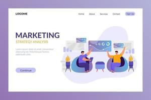marketing strategy landing page concept vector