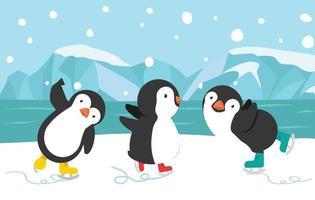 Fondo de dibujos animados de patinaje sobre hielo pingüino feliz vector