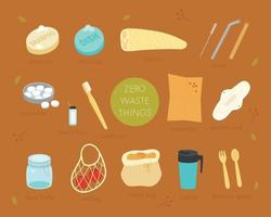 A collection of zero waste products. flat design style minimal vector illustration.