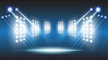 Sala de escenario del estadio de fondo abstracto con luces escénicas de tecnología futurista redonda vector
