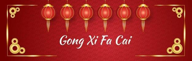 Gong xi fa cai greeting banner with red and gold lanterns and coins on a red ornamental background