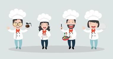 chef cocinando personajes de dibujos animados conjunto vector