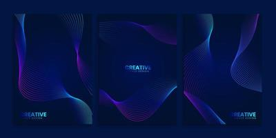 Blue Dark Covers Collection with Neon Wavy Lines set vector