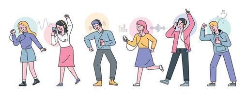 la gente escucha música con el teléfono en la mano y los auriculares en los oídos. Ilustración de vector mínimo de estilo de diseño plano.