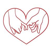 hand drawn outline pinky promise with heart vector