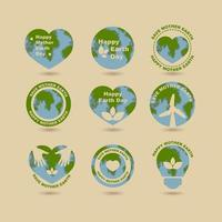 Earth Day Label with Brown Background vector