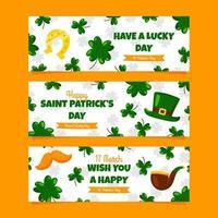 St Patrick's Clover Banner Set vector
