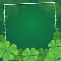 Blooming Green Shamrock with Frame Background vector