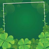 Trébol verde floreciente con fondo de marco vector