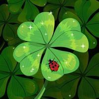 Pretty Lady Bug on Green Shamrock vector