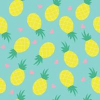 Seamless tropical  pattern with pink hearts and pineapples on blue background. vector