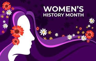 mes histórico de las mujeres con fondo morado vector