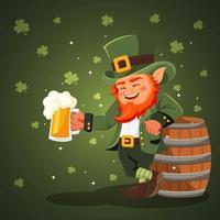 Mr. Leprechaun with Beer vector