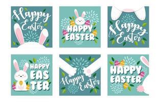 Easter Rabbit Set for Social Media Feed vector