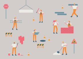 Workers at the construction site. A construction site where small and simple human characters are doing their jobs. flat design style minimal vector illustration.