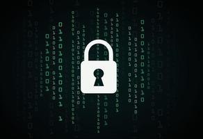 Digital lock guard sign binary code number cyber data background vector illustration eps10