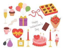 cosas preparadas para el dia de san valentin. comida y regalos románticos. Ilustración de vector mínimo de estilo de diseño plano.