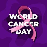 día mundial del cáncer con centro de texto vector