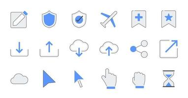 Filled outline essential UI Icon set. vector