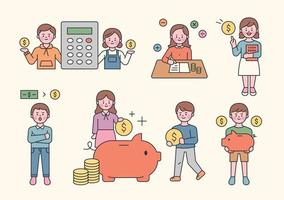 Savings, finance character set. vector