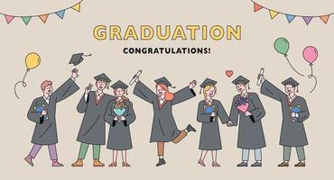 Graduation ceremony poster. vector