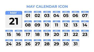 May calendar icon, set on blue