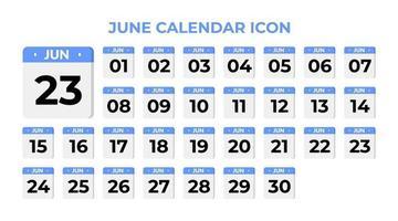 June calendar icon, set on blue vector