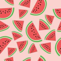 Seamless tropical pattern with watermelon on pink background. Vector illustration.