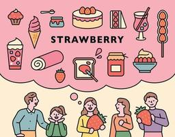 Foods made with strawberries. vector