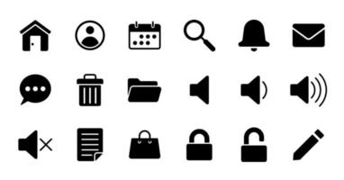 Solid essential UI Icon set. vector
