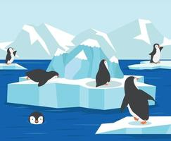 Polo norte de la Antártida con antecedentes familiares de pingüinos vector