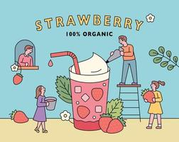 Strawberry juice poster. vector