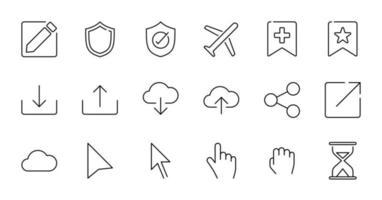 esquema conjunto de iconos de interfaz de usuario esencial. vector