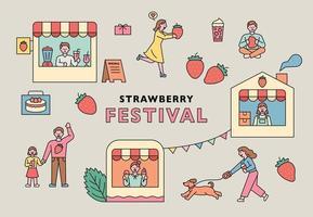 cartel del festival de la fresa. vector