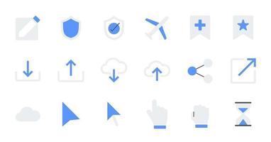 Flat essential UI Icon set. vector