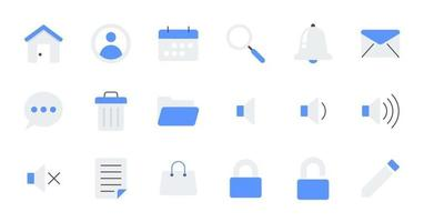 Flat essential UI Icon set. vector