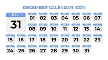 December calendar icon, set on blue vector