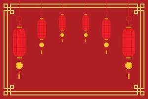Red Wallpaper of Traditional Chinese Lanterns for the Chinese New Year. vector