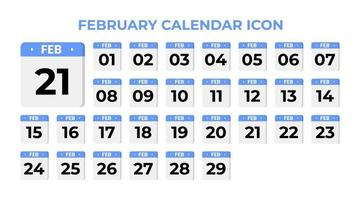 February calendar icon, set on blue vector